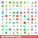 100 apartment icons set, cartoon style. 100 apartment icons set in cartoon style for any design vector illustration Royalty Free Stock Photography