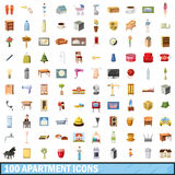 100 apartment icons set, cartoon style. 100 apartment icons set in cartoon style for any design vector illustration Stock Illustration