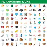 100 apartment icons set, cartoon style. 100 apartment icons set in cartoon style for any design illustration royalty free illustration