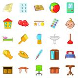 Apartment icons set, cartoon style Royalty Free Stock Images