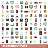 100 apartment icons set, flat style. 100 apartment icons set in flat style for any design vector illustration Stock Illustration