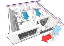 Apartment with indoor wall air conditioning diagram Stock Photography
