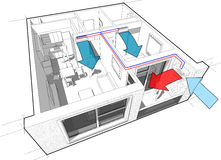 Apartment with indoor wall air conditioning diagram Royalty Free Stock Photography