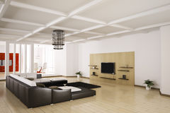 Apartment interior 3d. Interior of apartment. Living room, kitchen 3d render Stock Photos