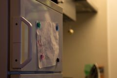 Apartment interior, closeup of the refrigerator Stock Image