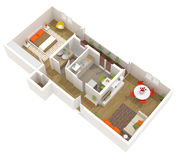 Apartment interior design - 3d floor plan Royalty Free Stock Images