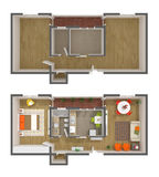 Apartment interior design - 3d top view Stock Image
