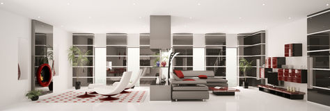 Apartment interior panorama 3d render Royalty Free Stock Images