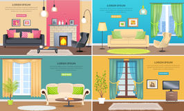 Apartment Interiors Vector Web Banners Set Royalty Free Stock Photo