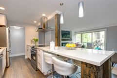 Apartment interior with open floor plan. Apartment kitchen design with open floor plan stock images