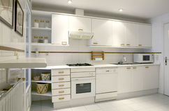 Apartment kitchen interior in white tone Stock Photo