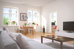 Apartment - living room - dining area Stock Images