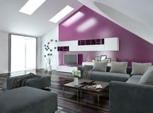 Apartment living room interior with purple accent. Modern apartment living room interior with a purple accent wall and sloping ceiling with skylights above a Stock Images