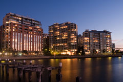 Apartment living on the waterfront. Royalty Free Stock Image