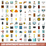 100 apartment mastery icons set, flat style. 100 apartment mastery icons set in flat style for any design vector illustration Stock Images