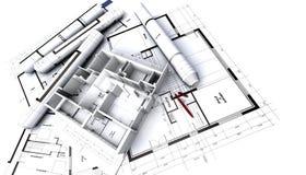 Apartment mock-up on architect. Blueprints vector illustration