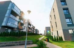 Apartment modern homes and houses residential buildings real estate sunset stock photography