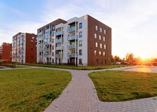 Apartment modern house and home residential buildings real estate sunset royalty free stock photography