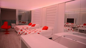 The apartment of modern luxury hotel with changing illumination Royalty Free Stock Photo