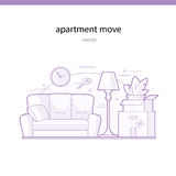 Apartment move line vector illustration Royalty Free Stock Photo