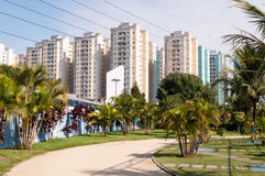 Apartment near the park with jogging track royalty free stock photo