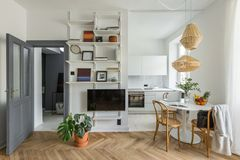 Apartment with open kitchen. Cozy apartment in scandinavian style with open kitchen stock images