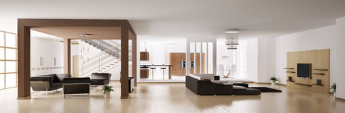 Apartment panorama 3d. Apartment. Hall, kitchen, living room panorama 3d Royalty Free Stock Image