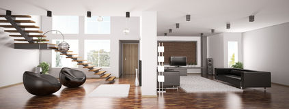 Apartment panorama 3d. Interior of apartment panorama 3d render Royalty Free Stock Images