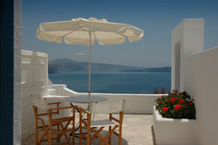 An apartment patio in Santorini Stock Images