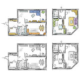 Apartment plan with furniture, vector sketch Stock Photo