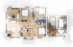 Apartment plan sketch Royalty Free Stock Photos