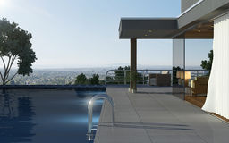 Apartment with pool Royalty Free Stock Images