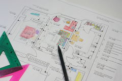 Apartment project in the drawings of the child Royalty Free Stock Images