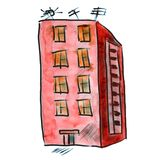 Apartment red house watercolor drawing isolated on Stock Photo