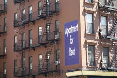 Apartment for Rent. An Apartment for Rent sign on a New York City building stock photos