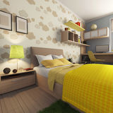 Apartment with room for a baby. Apartment with children's room with a bed with pillows with a blanket Royalty Free Stock Images
