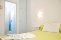 Apartment  room to let Greek Islands. Typical basic apartment motel room to let bedroom in Logaras Piso Livadi Paros Cyclades Greek island Greece Stock Photography