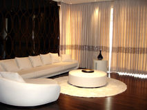 Apartment sitting area. Sitting area of apartment with white sectional couch and circular table Stock Photography
