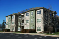 Apartment with solar panel installed on roof. Apartment with  panel installed on roof Stock Photography