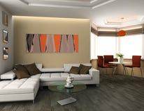 Apartment studio. Sofa and lunch zone in studio apartment 3d image Stock Photos
