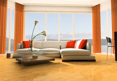 Apartment studio. White sofa against a window in studio 3d image Royalty Free Stock Image