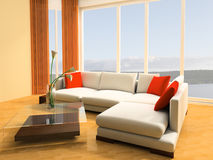 Apartment studio. White sofa against a window in studio 3d image Royalty Free Stock Photography