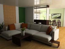Apartment studio. White sofa in studio 3d image Royalty Free Stock Photography