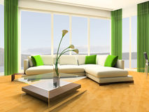 Apartment studio. White sofa against a window in studio 3d image Royalty Free Stock Photos