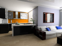 Apartment studio. Sofa and lunch zone in studio apartment 3d image Royalty Free Stock Photo