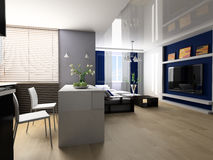 Apartment studio. Sofa and lunch zone in studio apartment 3d image Royalty Free Stock Photos