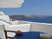 Apartment terrace on Santorini Royalty Free Stock Photo
