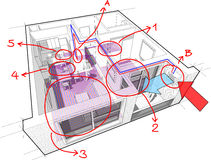 Apartment with underfloor heating and heat pump and hand drawn notes. Perspective cutaway diagram of a one bedroom apartment completely furnished with hot water Stock Photo
