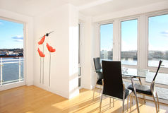 Apartment with a view. Modern apartment with wall decoration Royalty Free Stock Photos