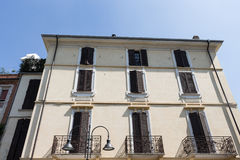 Apartment with window in summer. Salsomaggiore Italy Stock Photos